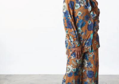 silk floral casual suit