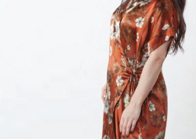 silk floral wrap dress