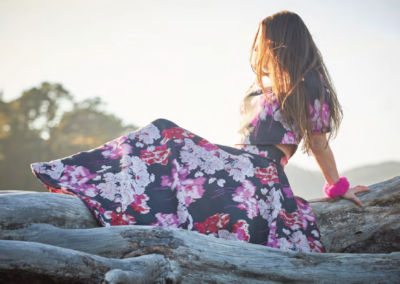 floral skirt and crop top