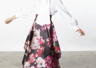floral skirt and blouse