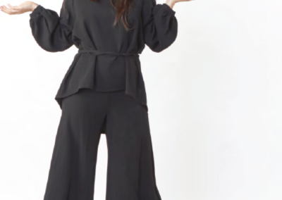 cropped wide-leg pant and loose blouse